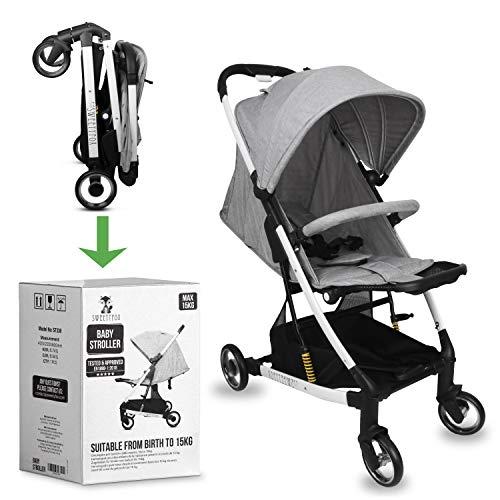 Carrito Bebe Compacto y Plegable -Fácil de Plegar, Desplegar y para Viaje - Comodidad y Ajustable para Bebé y Niño (Nacimiento a 15kg) - Manija, Barra de Protección y Arnés de 5 puntos