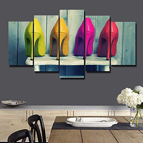 Poouoooy Leinwand Malerei Wandkunst 5 High-Definition-Wandbilder High Heel Dekoration Moderne Leinwand Bild Plakat-NO Rahmen 40x60 40x80 40x100cm