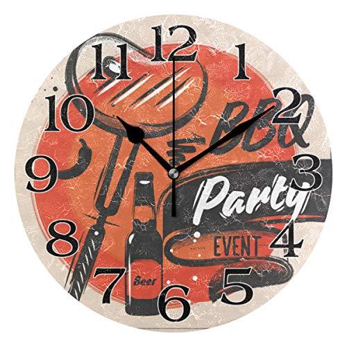 linomo Summer Party Grill Bier Wanduhr Dekoration, geräuschlos, Nicht tickend, runde Uhr leise für Küche, Wohnzimmer, Schlafzimmer, Badezimmer, Büro