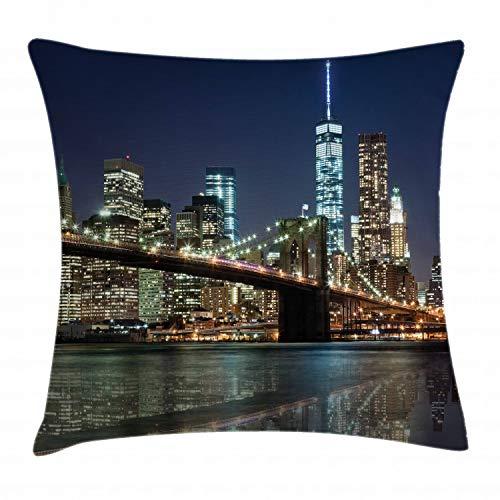 ABAKUHAUS Nueva York Funda para Almohada, Puente de Brooklyn, Material Lavable con Cremallera Colores No Destiñen, 50 x 50 cm, Multicolor