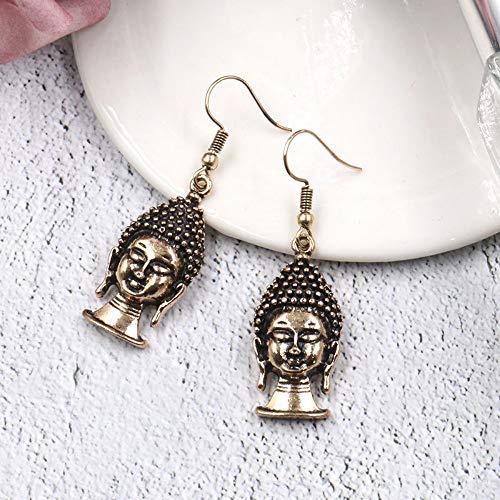 THTHT Vintage oorbellen voor dames, simpel, guanyin boeddha-kop, legering, temperament, exquisiet, creatief cadeau, gepersonaliseerde accessoires