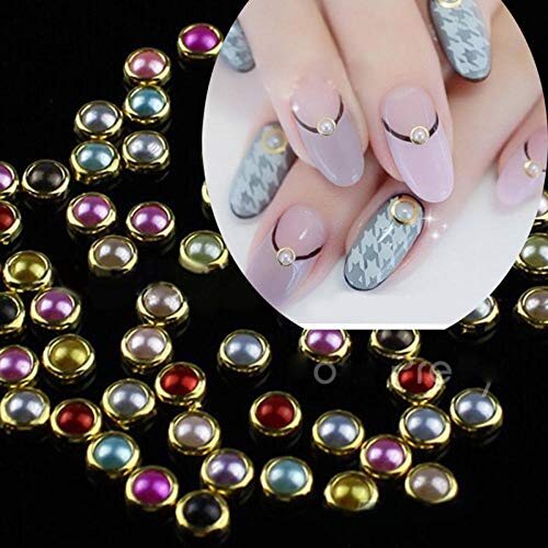 CLOAAE 500 Pcs Nail Decoration Mixed Color Pearl Gold Alloy Edge 4mm Beads Gems Beads Glitter Studs Colorful Design Nail Art Beads