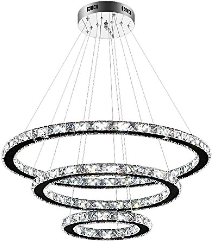 HENGMEI LED Kronleuchter Hngelampe Kristall Pendelleuchte 96W Kaltwei Deckenleuchte Hngeleuchte Drei Ringe (Kaltwei, 96W)