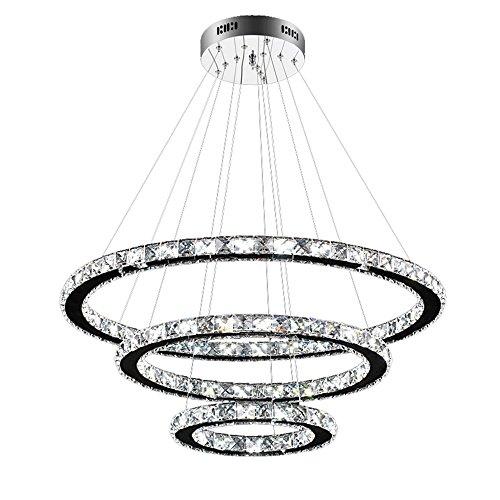 SAILUN 96W LED Lampada a Sospensione Design di Cristallo a Tre Anelli (Φ: 30cm + 50cm + 70cm) Lampada a Sospensione Lampadario Creativo Bianco Freddo Lustres (96W Bianco Freddo)