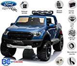 BC BABY COCHES Coche eléctrico para niños Ford Ranger Raptor 2 PLAZAS, Mando Control Remoto Teledirigído, Ruedas Caucho, Asiento Acolchado + Polipiel, Batería 12v (Azul)