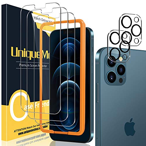 [2+3 Pack] UniqueMe Camera Lens Protector and Screen Protector Compatible with iPhone 12 Pro 6.1 inch Termperd Glass 【NOT for iPhone 12】[Easy Installation Frame] HD [Anti-Scratch] [Bubble Free]