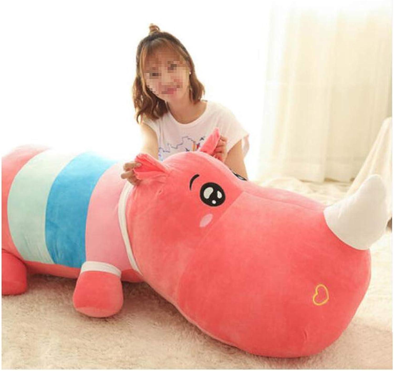 IIWOJ Big Simulation Hippo Plush Doll, Soft Animal KissenKindergeschenkHomeAccessoires,Red,120cm