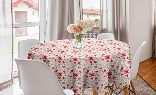 ABAKUHAUS Valentijnsdag Rond Tafelkleed, Hart Vorm Ballonnen, Decoratie voor Eetkamer Keuken, 150 cm, eierschaal Vermilion