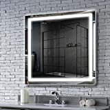 MAVISEVER 36 x 36 Inch LED Lighted Bathroom Mirror Wall Mounted Anti-Fog Backlit Mirror for Bathroom Wall, Adjustable Color Temperature, Touch Switch Button, Square Led Mirror (Vertical & Horizontal)