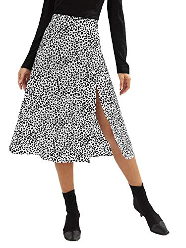 SweatyRocks Women's Casual Dalmatian Print High Side Split A-Line Chiffon Midi Skirt Black White S