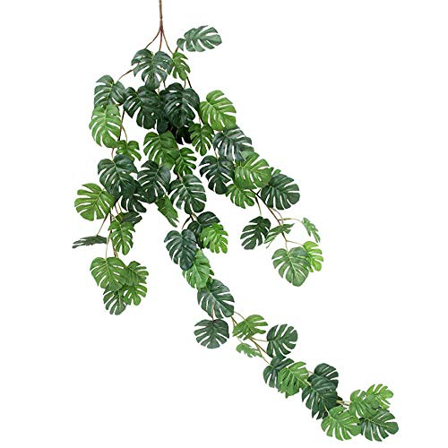 LA Haute 2.6 Ft Artificial Tropical Monstera Leaves Hanging Plants Garland Hanging Vine Plants for Home Kitchen Garden Office Wedding Wall Decor