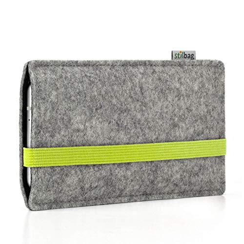 stilbag Handyhülle Leon für Huawei Honor Magic 2 | Farbe: hellgrau/Lime | Smartphone-Tasche aus Filz | Handy Schutzhülle | Handytasche Made in Germany