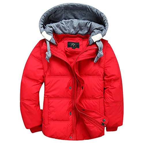 Children Boys Down Parka Coats Down Jacket Hooded Outerwear Boys 4-12T Red 4T