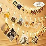Guirlande Lumineuse Photo, Zorara Guirlande Led 6M 40LED, Guirlande Porte Photo mural, Porte Photo Pince pour Mémos Photo, Fête, Décoration, Mariage (Blanc chaude)