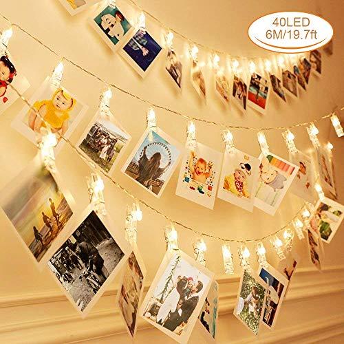 Zorara Clip Cadena de Luces LED, 40LEDs 6m Fotoclips Guirnalda de Luces, Guirnalda Luces Pilas para Decoración de Fotos [Clase de eficiencia energética A] (40 Clips)