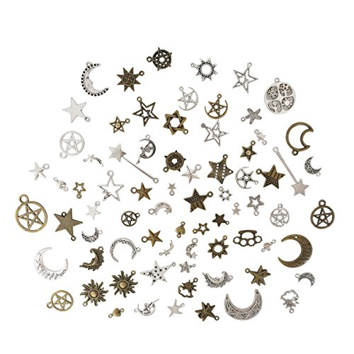 Wholesale Mixed Moon Sun Stars Pendants Charms, Zamak Charms, Pack Charms, Bracelet Charms for DIY Jewelry Making Supplies