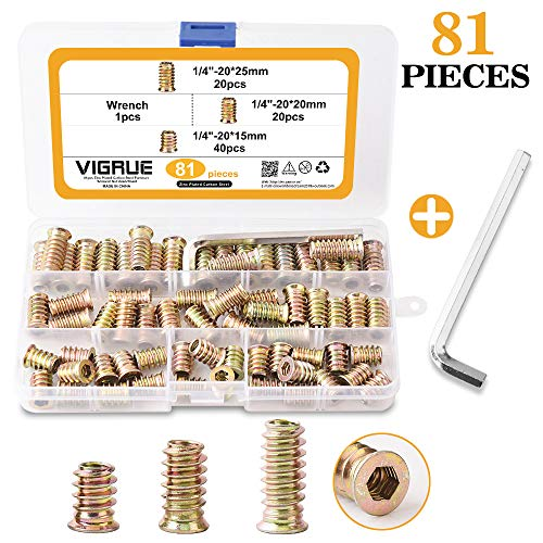 VIGRUE 81PCS 1/4'-20 x 15mm/20mm/25mm Threaded Inserts Nuts for Wood Zinc Plated Carbon Steel Hex Socket Drive Furniture Flanged Screw-in Nut Assortment Set with One Wrench