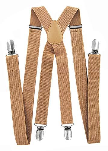 axy Hochwertige Herren Hosenträger breit 2,5 cm mit 4 Starken Clips X-Form und Damen (Beige)