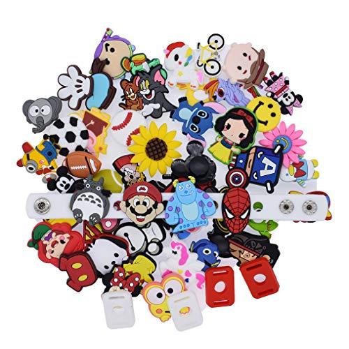XHAOYEAHX 50Pcs Different Random Shoes Charms Decorations+4Pcs Shoe Lace Adapter +1Pcs Wristband Bracelet