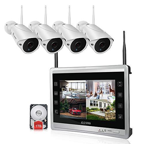 Luowice Überwachungskamera Set Außen Kabellos mit 4 x 960P WLAN WiFi Sicherheitcameras 11