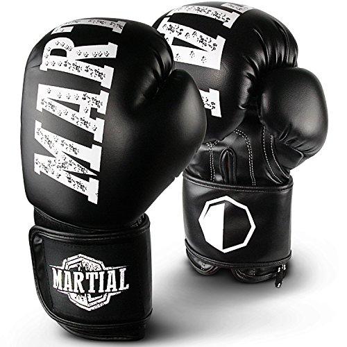 Martial Boxhandschuhe aus bestem Material für Lange Haltbarkeit! Kickboxhandschuhe für Kampfsport, MMA, Sparring und Boxen mit optimaler Schlagdämpfung. Hoher inkl Beutel!