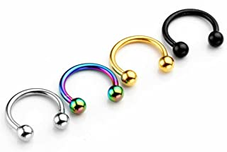 2-8pc 16G Stainless Steel Horseshoe Bar Nose Ring Septum Circular Barbell Tragus Earrings 5/16