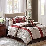 Madison Park Donovan Cal King Size Bed Comforter Set Bed In A Bag - Taupe, Burgundy , Jacquard Pattern – 7 Pieces Bedding Sets – Ultra Soft Microfiber Bedroom Comforters