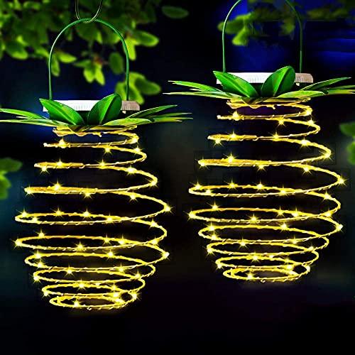snowvirtuos Farol de hierro con luz solar de piña, luces LED de alambre de cobre para exteriores, impermeable, decoración de jardín (60 LED [paquete individual])