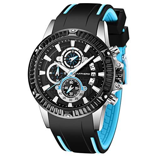 Uhr Herren SAPPHERO Chronograph Analogue Quartz Großes Zifferblatt Uhr Männer 3ATM Wasserdicht Business Military Sport Style Armbanduhr mit Armband Silikon Elegant Geschenk für männer