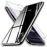 KEEPXYZ Funda para iPhone XR Silicona Transparente TPU Antigolpes + 2 Pcs Protector de Pantalla para iPhone XR Cristal Templado, Vidrio Templado para iPhone XR