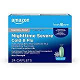 Amazon Basic Care Nighttime Severe Vapor Ice Cold and Flu, Coated Caplets, Temporarily relieves Common Cold and flu Symptoms Like runny Nose and Sneezing, 24 Count