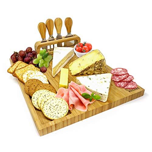 joeji's Kitchen Set de Regalo de Tabla de quesos | Tablas de Queso de bambú Tabla para quesos con Cuatro Cuchillos para quesos de Regalo - Ponga, Regalos de inauguración de la casa