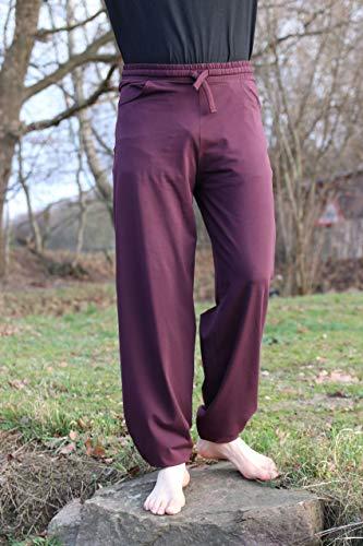 Pantalones de yoga de Esparto Sitaara, para hombre y mujer, estilo boyfriend, en algodón orgánico, todo el año, Mujer Hombre, color berenjena, tamaño extra-large
