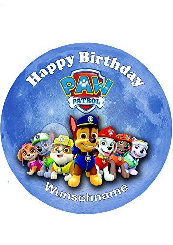 Für den Geburtstag ein Tortenbild + Wunschname Zuckerbild mit dem Motiv: Paw Patrol, Essbares Foto für Torten, Tortenbild, Tortenaufleger Ø 20cm - Super Qualität, 0182w