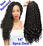 FQNing 14inch 6packs Faux Locs Crochet Hair Light Weight Soft Wavy Curly Goddess Locs Synthetic Brading hair extensions Natural Black #1B