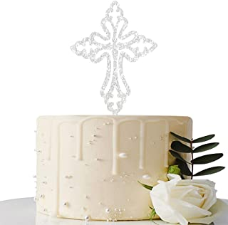 MaiCaiffe Sliver Cross Cake Topper, First Communion, Wedding Religious Baptism Christening, Child Dedication Keepsake Decoration (Sliver)