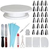 Homeries 36-Piece Cake Decorating Supplies Kit - Turntable with 3 Decorating Comb/Icing Smoothers + 2 Stainless Steel Icing Spatulas + 24 Icing Tips + 2 Bags - Best for Cake Decorating Training and Pa