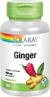 Solaray Ginger Root 550mg | Healthy Digestion, Joints and Motion & Stomach Discomfort Support | Whole Root | Non-GMO & Veg...