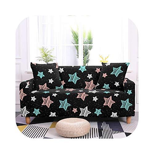 Sofa Covers - Funda de sofá extensible con diseño de estrella, funda de sofá elástica seccional para salón, diseño de estrella, funda de sofá en forma de L-SF135-6-4- Seater 235-300 cm