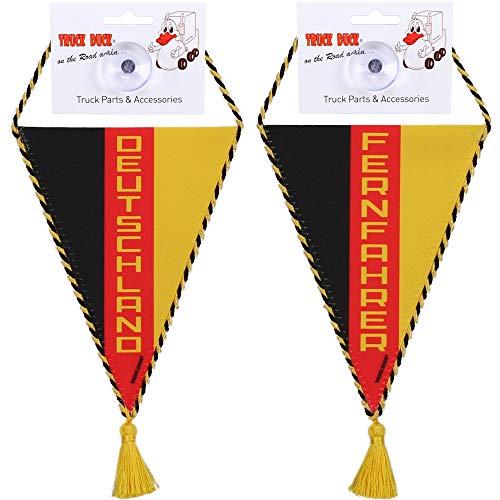TRUCK DUCK® LKW Auto Wimpel Deutschland Fernfahrer mit Saugnapf Trucker Mini Schal Flagge Fahne Banner Spiegel Deko