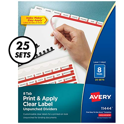 Avery 8-Tab Unpunched Binder Dividers, Easy Print & Apply Clear Label Strip, Index Maker, White Tabs, 25 Sets (11444)