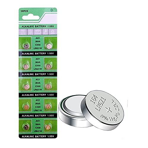 MORKETEK 10個/パック AG1コイン電池1.55V 364 SR621SW LR621 621 LR60 CX60アルカリボタン電池