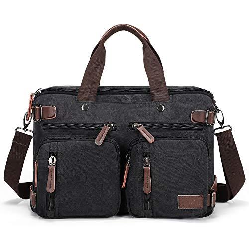 Fresion Umhängetaschen Herren, Laptoptasche oder Schultasche - Canvas Vintage Umhängetasche wandelbar in einen Rucksack,14-Zoll Laptop Business Tasche für Arbeits Büro, Schwarz