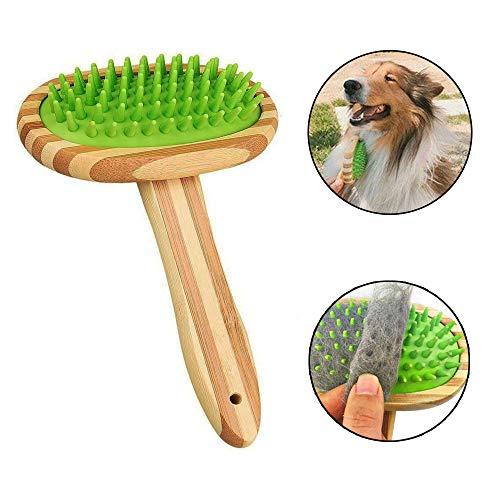 GingerUP Hond Bad Borstel Huisdier Shampoo Borstel- Effen Hout Handvat -Rubber Verzorging Borstel Huisdier Rubber Massage Penseel Verzorging