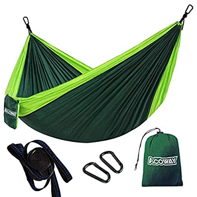 ACOWAY Hammock Camping Double, Hammock and Tree Straps, Travel Parachute Hammock Tree Straps Set of 2,Indoor Outdoor Double Hammock Backpacking for Travel, Beach, Backyard, Patio, Hiking,Green