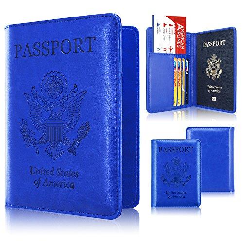 Passport Holder Case, ACdream Protective Premium PU Leather RFID Blocking Wallet Case for Passport, Navy Blue