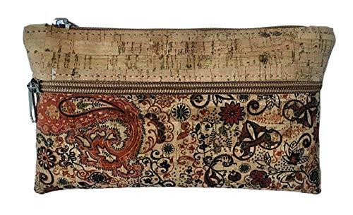 Kaibe Cartera de mano de corcho, bolso de mano de corcho con diferentes estampados (marrón rojizo)