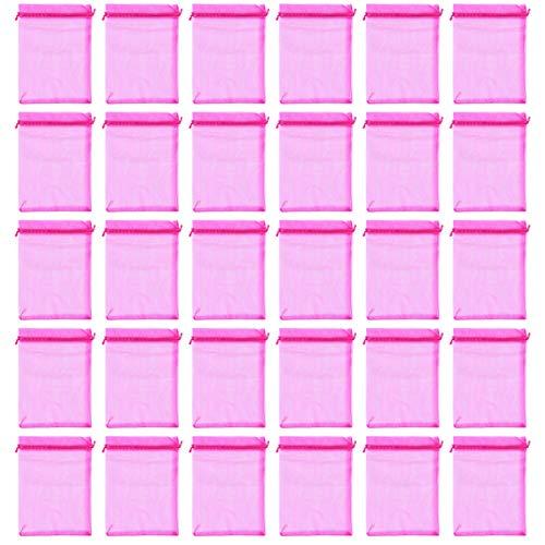 EXCEART 100 Pzas Bolsas de Organza Transparentes con Cordón Bolsa de Regalo para Boda Joyería Satinada Bolsa de Regalo para Fiesta para Muestras Pequeñas Bolsas de Tul para Maquillaje