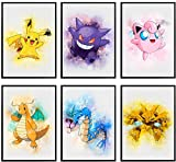 Pokemon Wall Art – Pokemon Posters – Unframed Set of 6 Room Decor Prints, 8x10 Inch Watercolor Art Pikachu Poster for Boys Room, Girls Bedroom, Wall Decor for Boys Collage Birthday Party Decorations