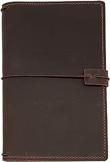 Travelers Notebook Cover with 4 Elastics, Inner Pocket + Card & Pen Holder, Distressed Dark Brown Genuine Leather, Standard Size